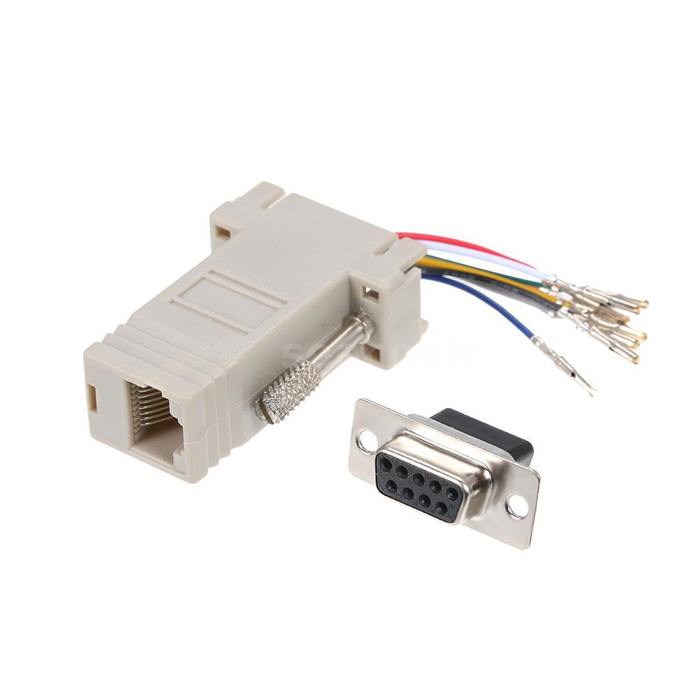 RJ45 Female Socket To DB 9 Pin Serial DB9 Socket Adapter Module Connector C7D4