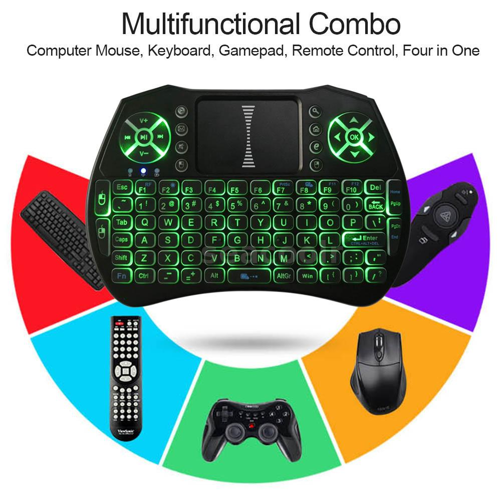 Details about 4 in 1 2 4GHz Wireless Keyboard Air Mouse Backlit Touchpad  Gamepad Remote K9G0