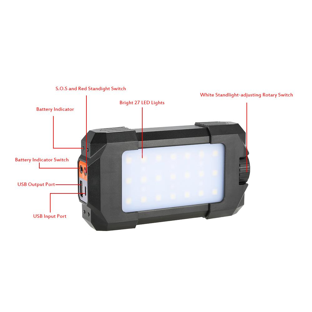 500lm outdoor rechargeable portable 27 leds lantern lamp flasher